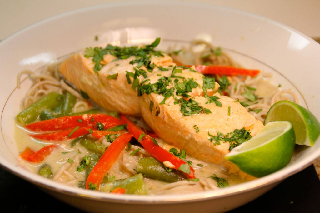 salmon & soba noodles in thai green curry broth | E A T & R E L I S H