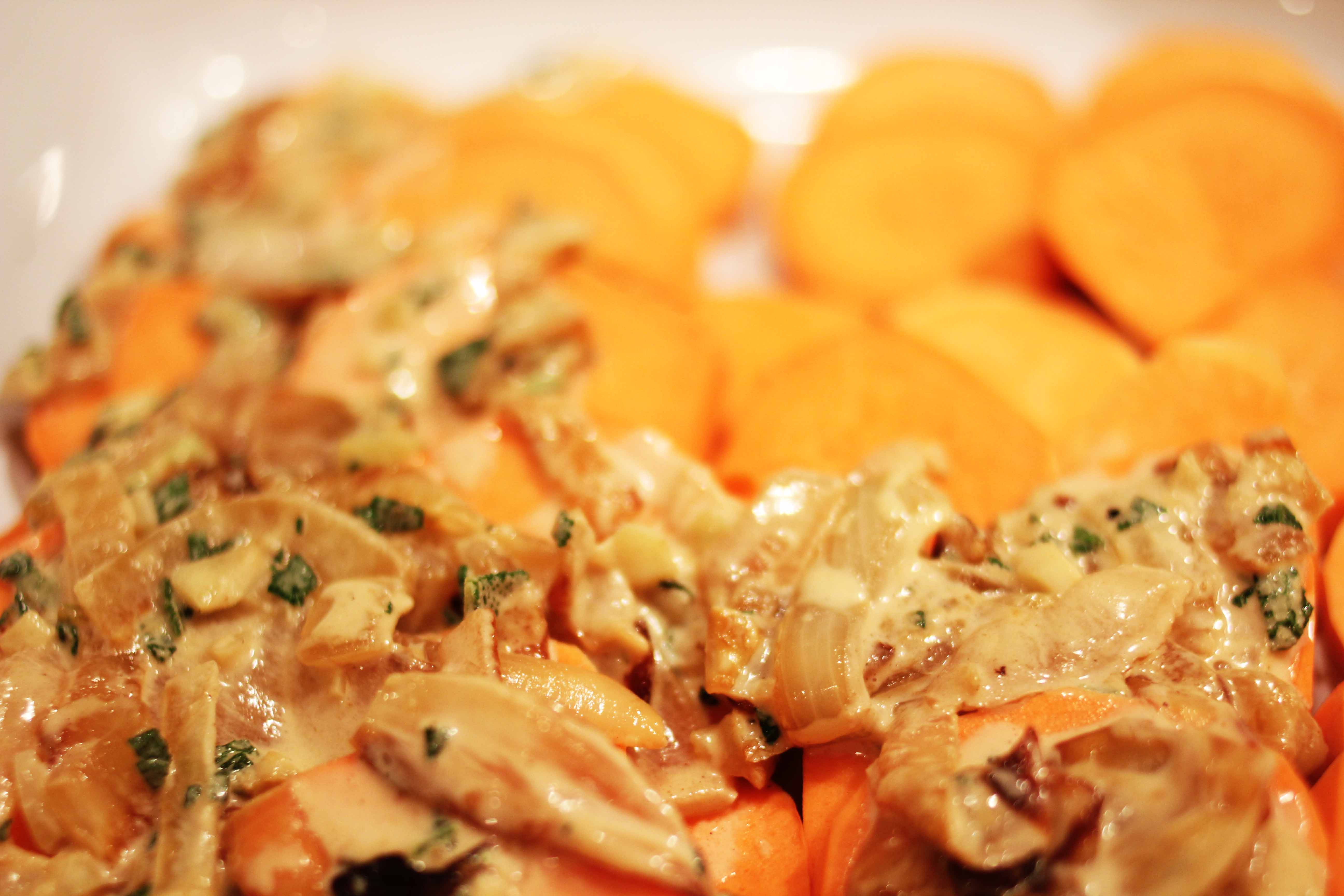 holiday heaven: sweet potato and sage gratin with caramelized onions ...