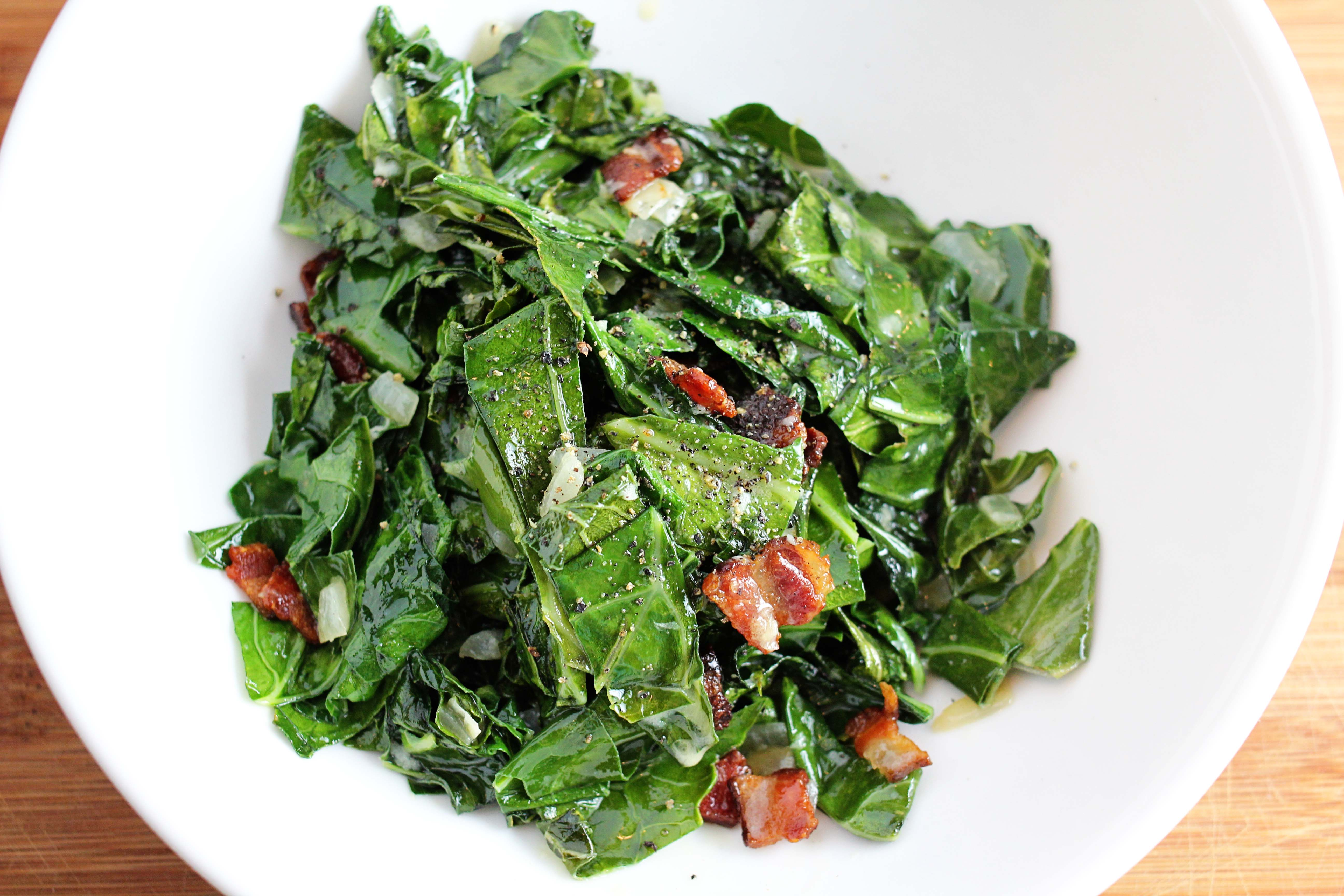 fall-ified: green collard greens with bacon, onion, and creme fraiche ...