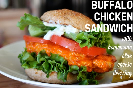 buffalo chicken sandwich with homemade blue cheese dressing (with greek yogurt!)