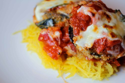 eggplant parmigiano with spaghetti squash finished from above