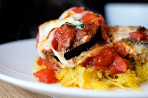eggplant parmigiano with spaghetti squash finished with oozy cheese