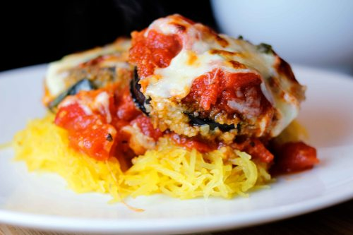 eggplant parmigiano with spaghetti squash finished