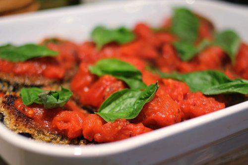eggplant parmigiano with spaghetti squash sauced eggplant
