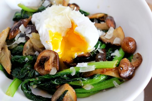 wild mushroom and tatsoi bowl with a poached egg eatandrelish