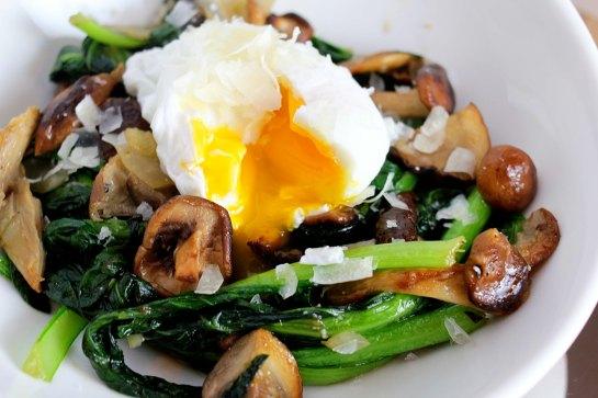 wild mushroom and tatsoi bowl with a poached egg eatandrelish