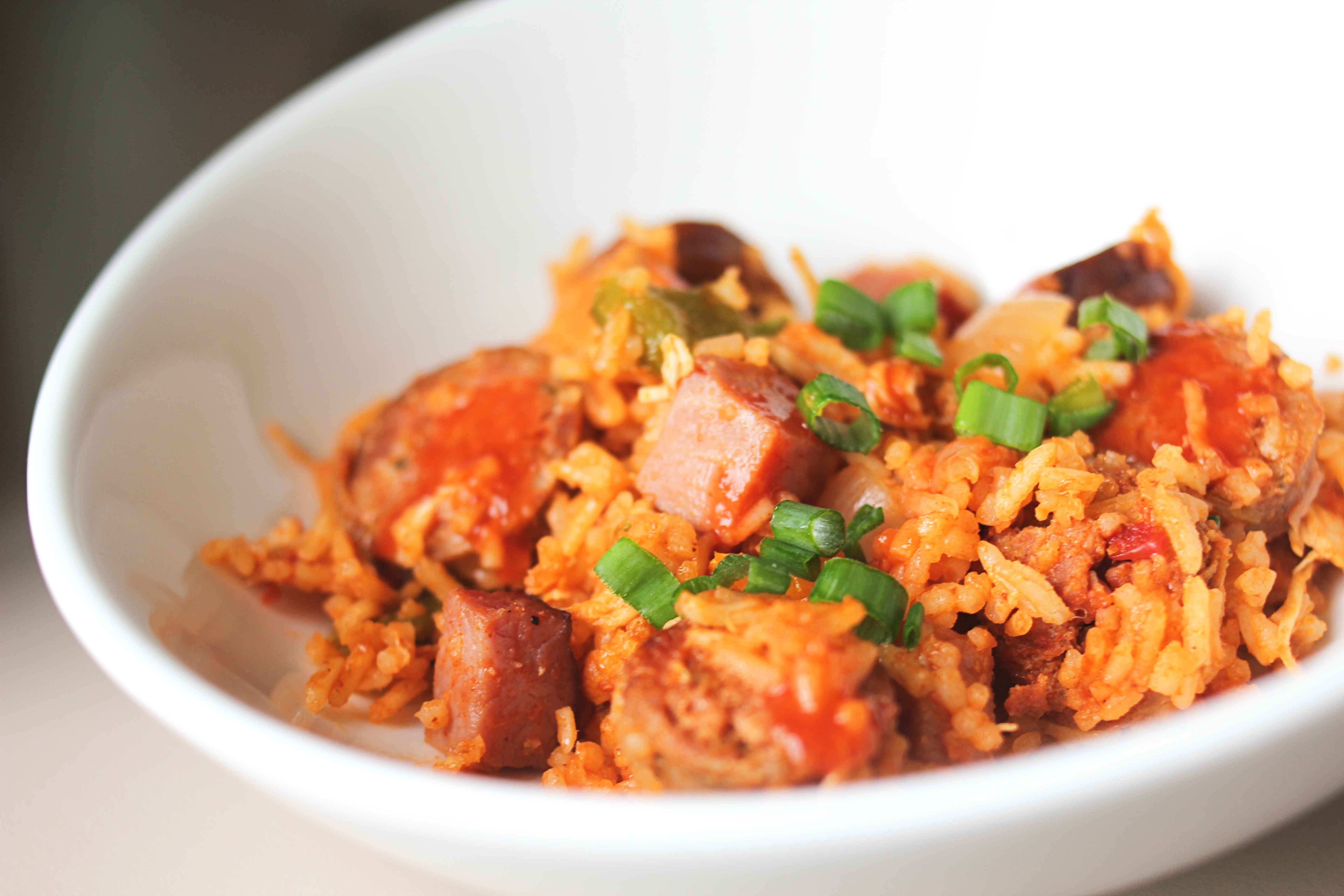Touchdown creole jambalaya with pulled chicken sausage and diced