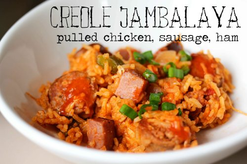 creole jambalaya with pulled chicken, sausage, and ham