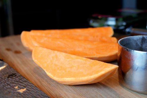 sweet potato and pea cakes quartered potato