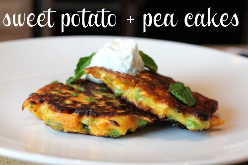 sweet potato and pea cakes with fresh mint and basil