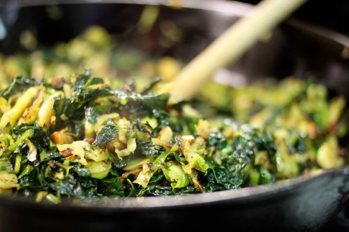 brussels sprout and kale hash with bacon and salted almonds 1