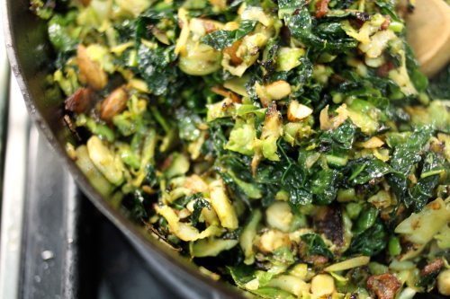 brussels sprout and kale hash with bacon and salted almonds 2