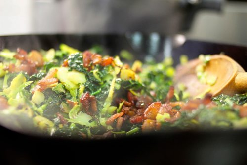 brussels sprout and kale hash with bacon and salted almonds 3