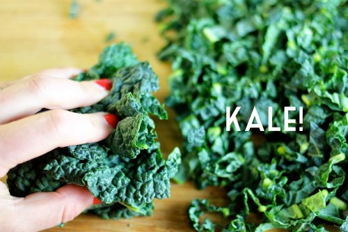 brussels sprout and kale hash with bacon and salted almonds - shredding the kale