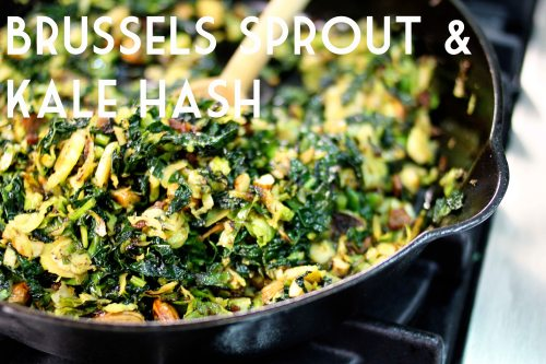 brussels sprout and kale hash with bacon and salted almonds