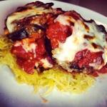 eggplant parmigiano with spaghetti squash