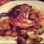roast chicken, chorizo broth, brussels