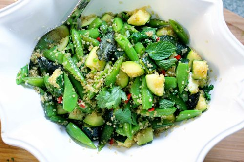a delicious and healthy salad (zucchini and sweet pea quinoa with fresh herbs and fresno chili)