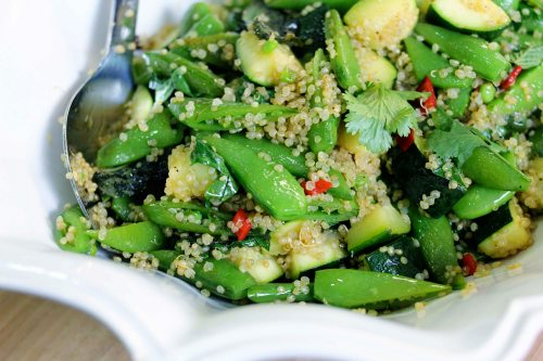 a finished salad of zucchini and sweet pea quinoa