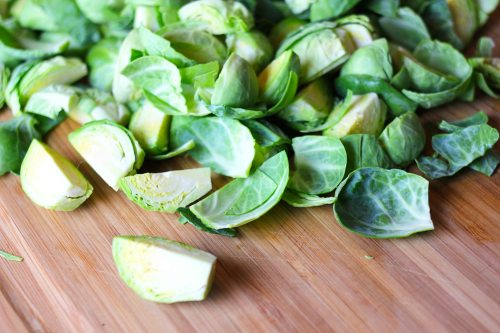 a pound of brussels sprouts, quartered