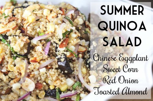 summer quinoa salad with chinese eggplant, sweet corn, red onion, and toasted almonds