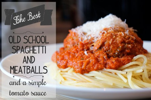 the best old school spaghetti and meatballs and a simple tomato sauce, by cory at eatandrelish.com