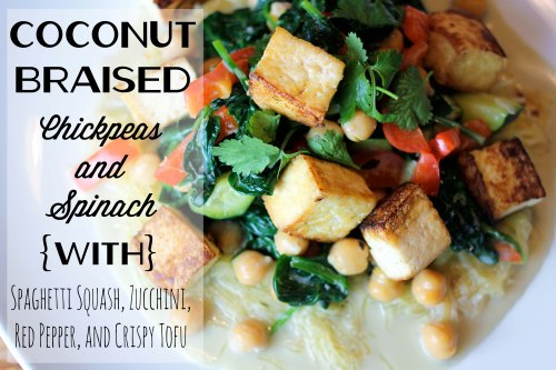 coconut braised chickpeas and spinach with spaghetti squash, zucchini, red pepper, and crispy tofu