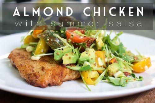 almond chicken with summer salsa