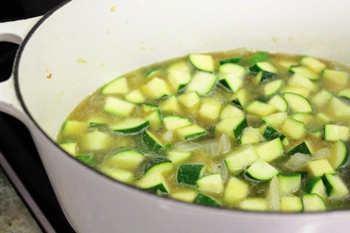 zucchini and basil soup simmering away...