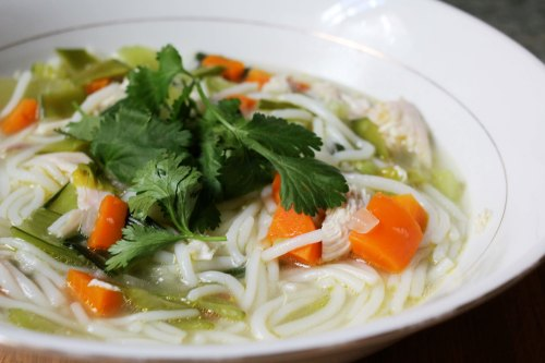 chicken noodle soup with baby bok choy, snow peas, rice noodles, ginger & garlic - savory, healthy, delicious