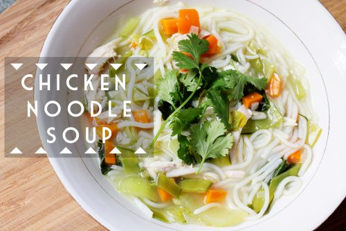 chicken noodle soup with snow peas, baby bok choy, and rice noodles