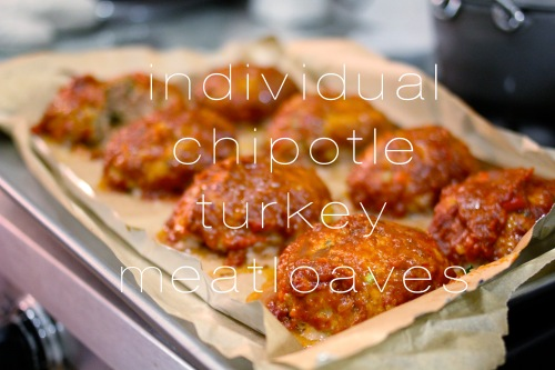 individual chipotle turkey meatloaves