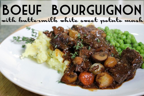 boeuf bourguignon with buttermilk white sweet potato smash