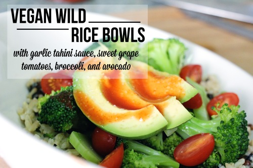 vegan wild rice bowls with garlic tahini sauce