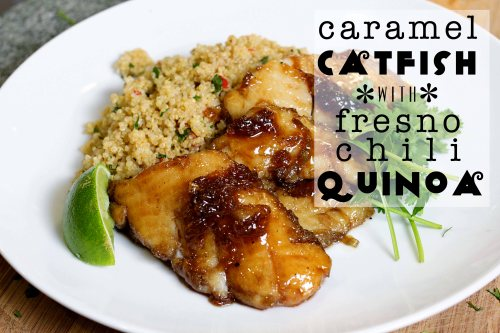 caramel catfish with fresno chili quinoa header