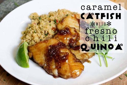 caramel catfish with fresno chili quinoa header