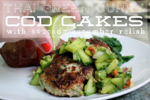 thai green curry cod cakes with cucumber avocado relish
