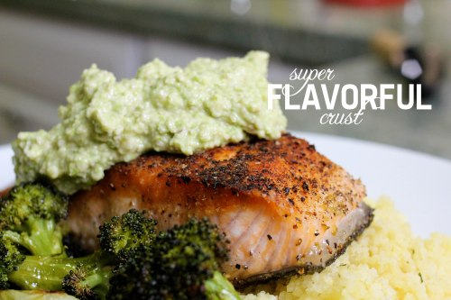 fennel pollen crusted salmon with asparagus walnut pesto - flavorful crust