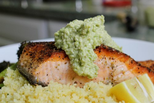 fennel pollen crusted salmon with asparagus walnut pesto - healthy and fresh