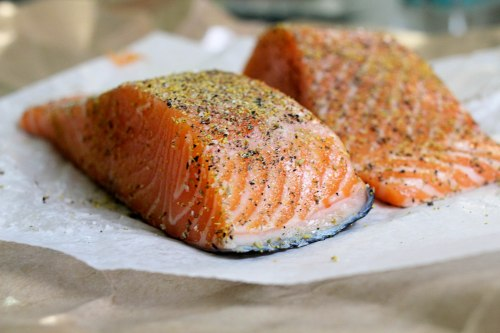 fennel pollen crusted salmon with asparagus walnut pesto - seasoned with pollen