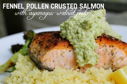 fennel pollen crusted salmon with asparagus walnut pesto