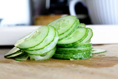 lamb patties - perfectly sliced cukes