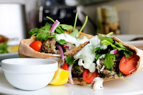 lamb pitas, ready to be devoured