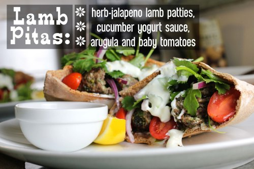 lamb pitas with herb jalapeno lamb patties, cucumber yogurt sauce, arugula, and baby tomatoes