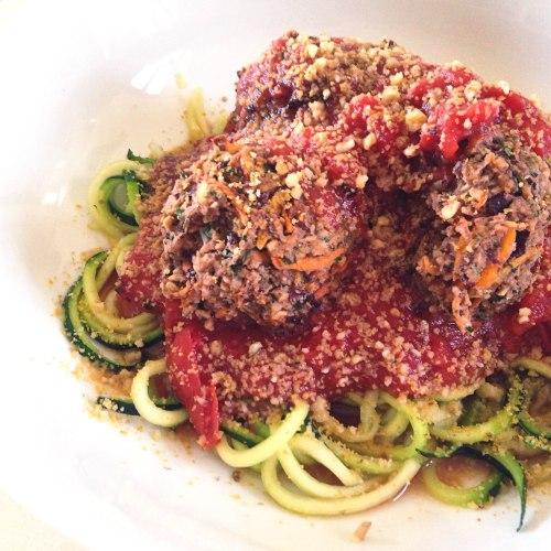 zucchini spaghetti and vegan beanballs